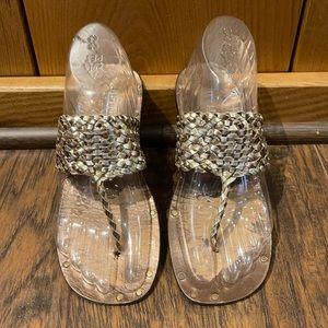 Old Navy Metallic Leather Flat Sandal Flip Flop